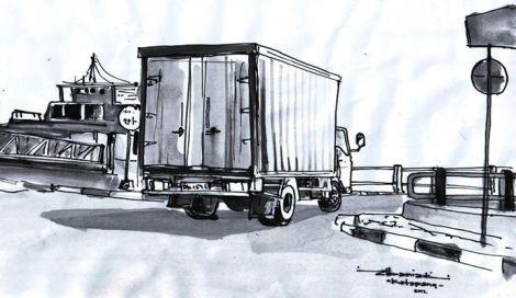 sketsa pelabuhan ketapang